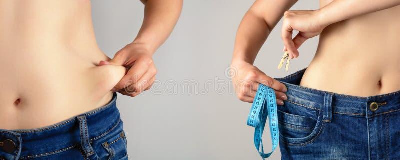 Πριν και μετά από να κάνει δίαιτα στοκ φωτογραφία με δικαίωμα ελεύθερης χρήσης