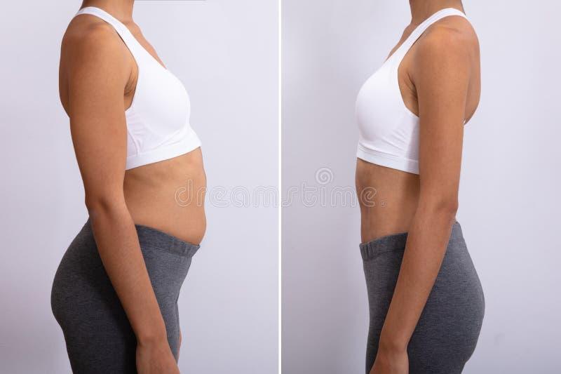 Πριν και μετά από την έννοια διατροφής στοκ εικόνες