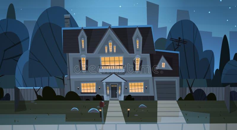Προάστιο άποψης νύχτας οικοδόμησης της μεγάλης πόλης, χαριτωμένη έννοια κωμοπόλεων ακίνητων περιουσιών εξοχικών σπιτιών διανυσματική απεικόνιση