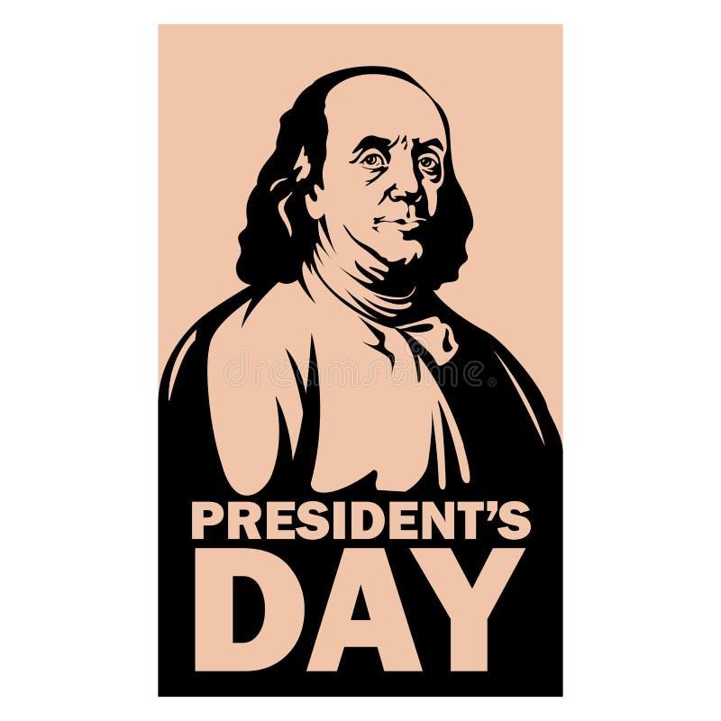 Προέδρου ημέρας επίπεδο ύφος απεικόνισης franklin διανυσματικό διανυσματική απεικόνιση