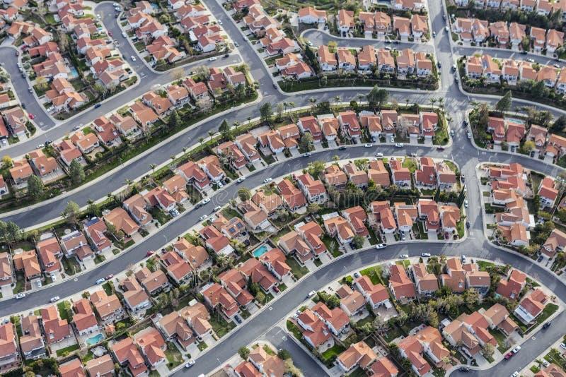 Προαστιακή κεραία γειτονιάς του Λος Άντζελες στοκ φωτογραφία