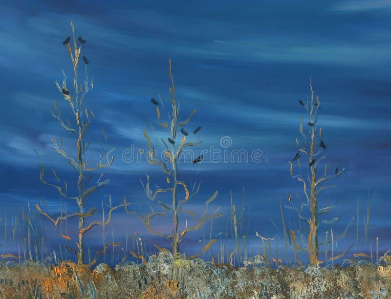 προαστιακός περίπατος άνοιξη ημέρας δασικός Λιβάδι με την ξηρούς χλόη και τους Μπους στοκ εικόνα