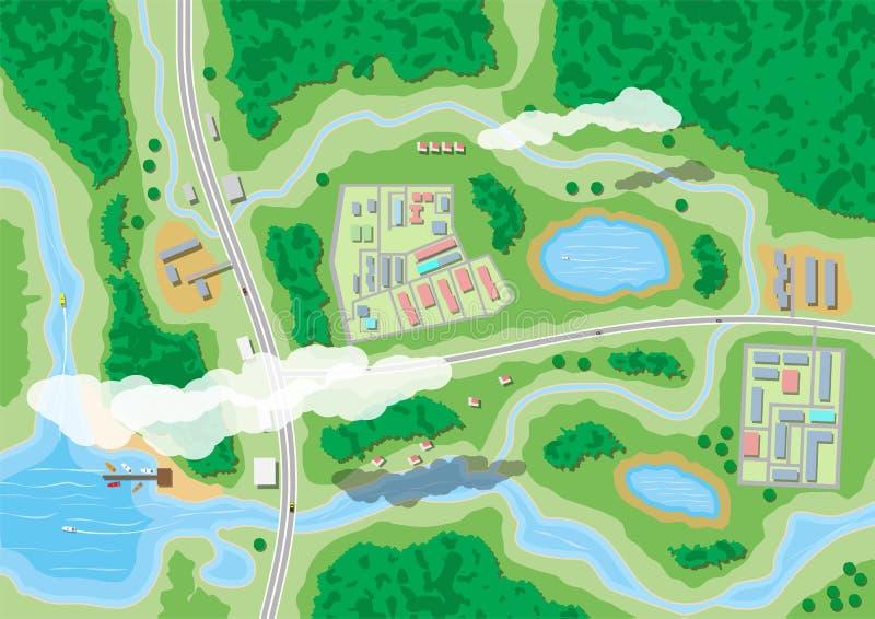 Προαστιακός χάρτης φύσης διανυσματική απεικόνιση