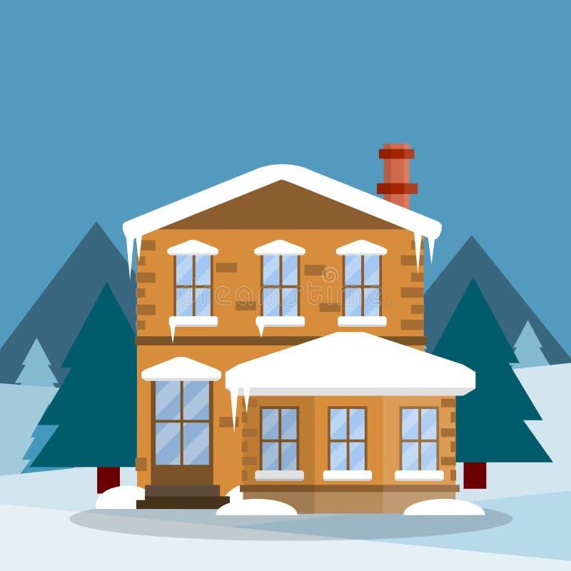 Προαστιακό σπίτι Επίπεδη απεικόνιση κινούμενων σχεδίων απεικόνιση αποθεμάτων