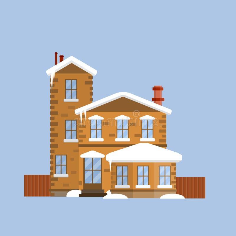 Προαστιακό σπίτι με τον τοίχο Επίπεδη απεικόνιση κινούμενων σχεδίων διανυσματική απεικόνιση