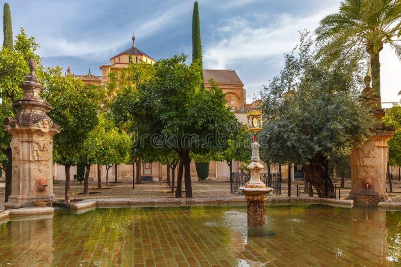Προαύλιο του μεγάλου μουσουλμανικού τεμένους Mezquita, Κόρδοβα, Ισπανία στοκ εικόνες