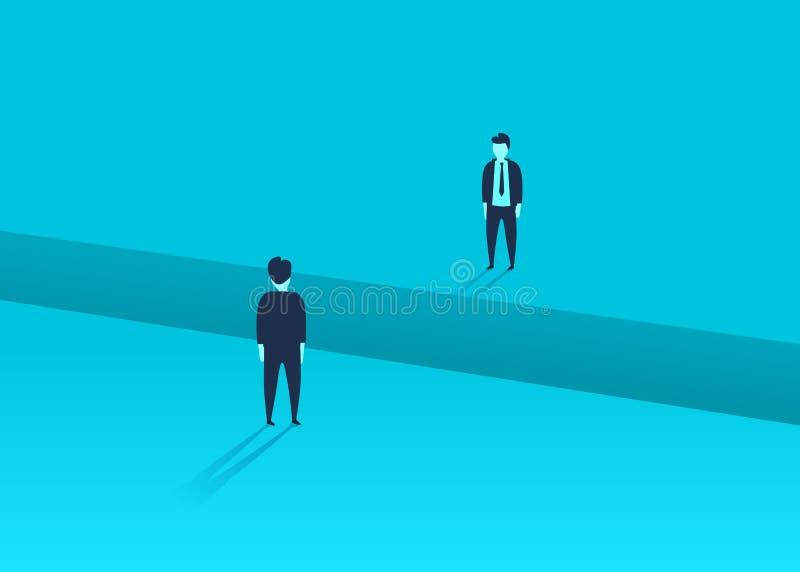 Προβλήματα επιχειρησιακών επικοινωνιών ή διαπραγμάτευσης, ζητήματα Δύο επιχειρηματίες με το χάσμα μεταξύ τους ελεύθερη απεικόνιση δικαιώματος