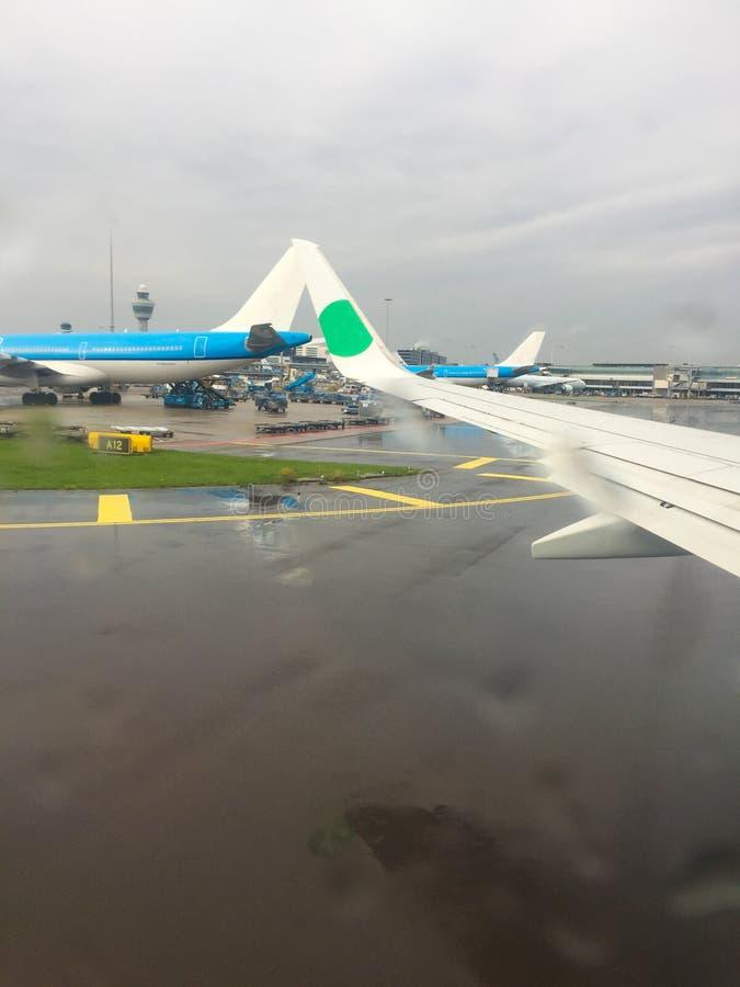 Προβολή από το αεροπλάνο στο αεροδρόμιο Πτήση Βροχερός καιρός στοκ φωτογραφία με δικαίωμα ελεύθερης χρήσης