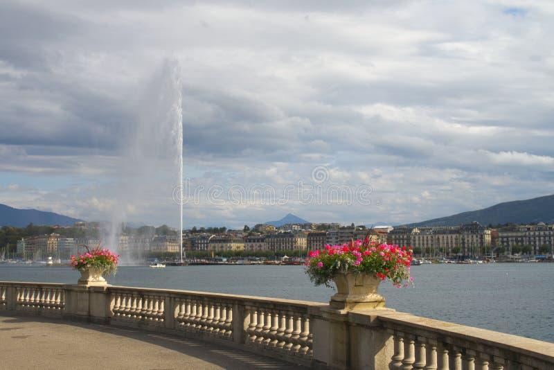 Προβολή σιντριβανιού Γενεύης στοκ εικόνα