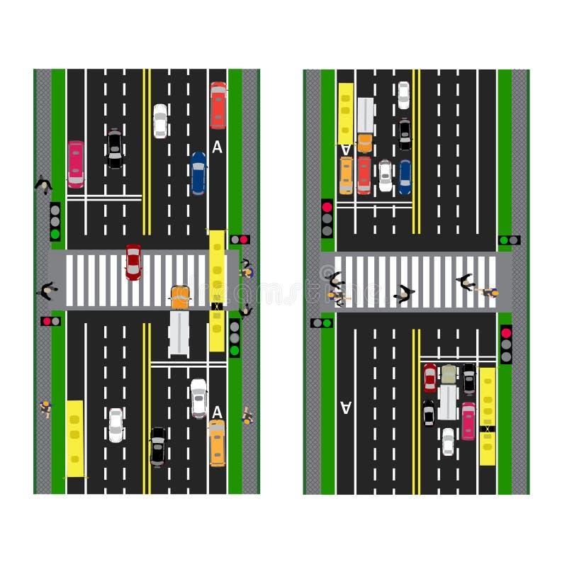 Προγραμματισμός εθνικών οδών δρόμοι, οδοί και φωτεινοί σηματοδότες με τη μετάβαση Πεζοδρόμια εικόνας, πάροδοι μετάβασης για το κο διανυσματική απεικόνιση