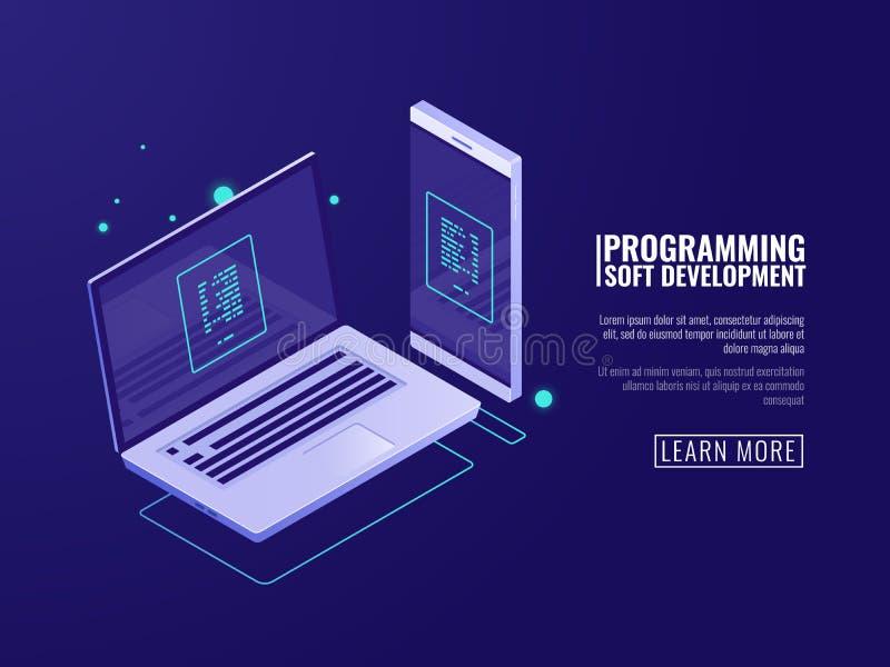 Προγραμματισμός και ανάπτυξη των προγραμμάτων υπολογιστών, της κινητής εφαρμογής, του lap-top και του κινητού τηλεφώνου με τον κώ διανυσματική απεικόνιση