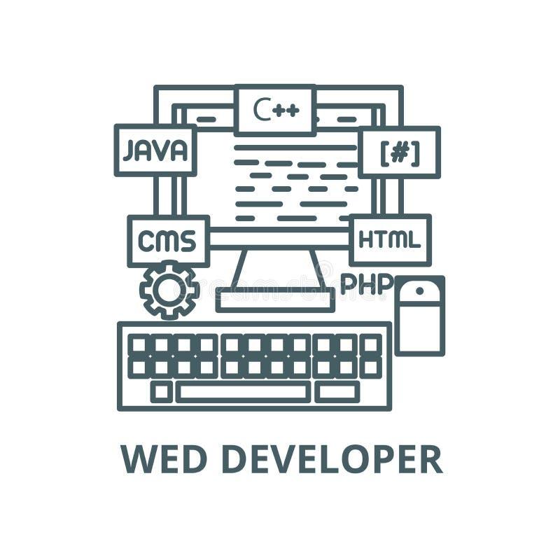 Προγραμματισμός, που κωδικοποιεί, wed διανυσματικό εικονίδιο γραμμών υπεύθυνων για την ανάπτυξη, γραμμική έννοια, σημάδι περιλήψε διανυσματική απεικόνιση