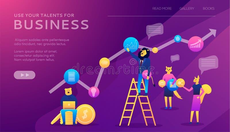 Προγραμματισμός σταδιοδρομίας Ο επιχειρηματίας σύρει τη γραφική παράσταση της αύξησης που στέκεται στα βήματα σκαλοπατιών ελεύθερη απεικόνιση δικαιώματος