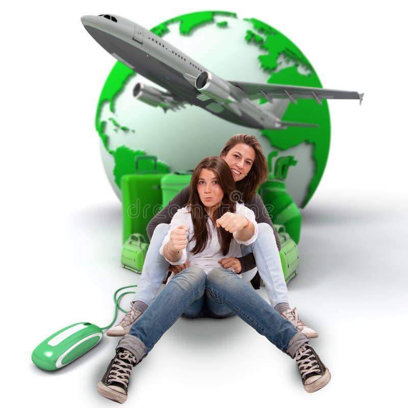 Προγραμματισμός ταξιδιού Mom και κορών διανυσματική απεικόνιση