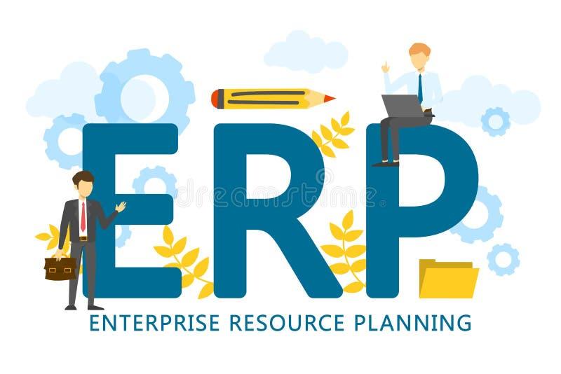 Προγραμματισμός των επιχειρηματικών πόρων cErp Μια εταιρική επιχείρηση διανυσματική απεικόνιση