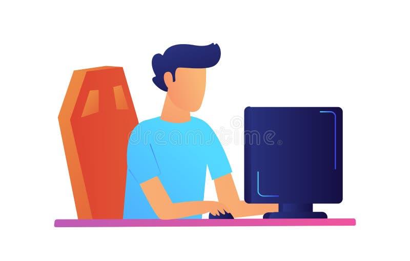 Προγραμματιστής που εργάζεται στη διανυσματική απεικόνιση υπολογιστών ελεύθερη απεικόνιση δικαιώματος
