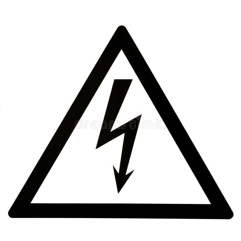 Προειδοποίηση του κινδύνου electricity απομονώστε το άσπρο υπόβαθρο στοκ φωτογραφία με δικαίωμα ελεύθερης χρήσης