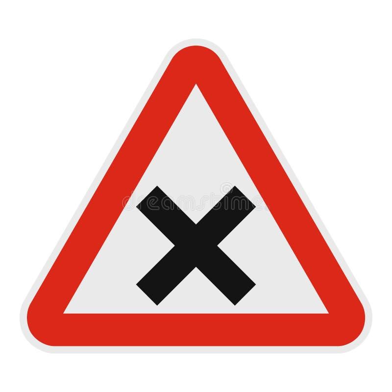 Προειδοποίηση του οδικού εικονιδίου διατομής, επίπεδο ύφος ελεύθερη απεικόνιση δικαιώματος