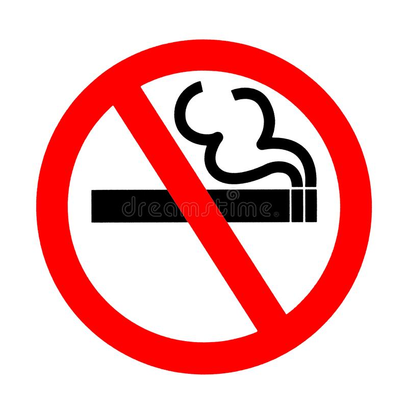 Προειδοποιητικό σημάδι απαγόρευσης του καπνίσματος, σύμβολο στοκ εικόνες