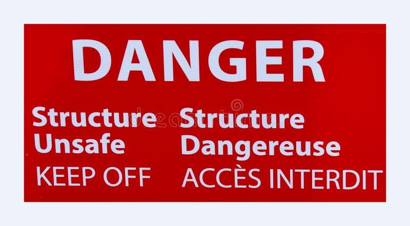 Προειδοποιητικό σημάδι  Η δομή κινδύνου επισφαλής αποφεύγει στοκ φωτογραφία
