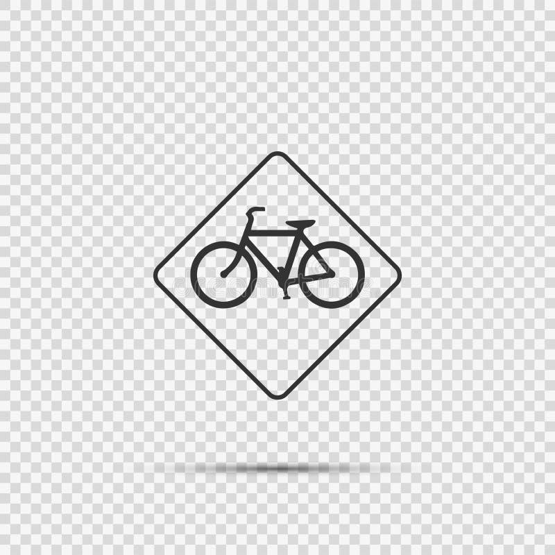 προειδοποιητικό σημάδι κυκλοφορίας ποδηλάτων συμβόλων στο διαφανές υπόβαθρο διανυσματική απεικόνιση