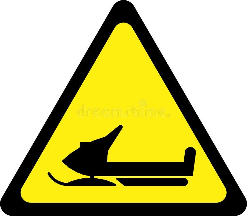 Προειδοποιητικό σημάδι με το όχημα για το χιόνι ελεύθερη απεικόνιση δικαιώματος