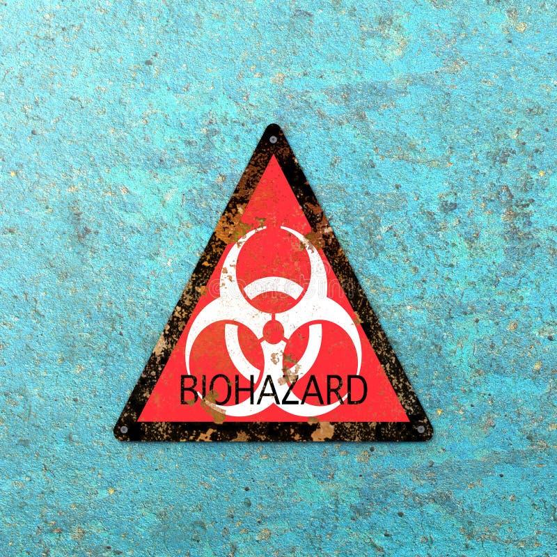 Προειδοποιητικό σημάδι που δείχνει την παρουσία βιολογικών κινδύνων, biohazards Ιοί και βακτηρίδια ελεύθερη απεικόνιση δικαιώματος