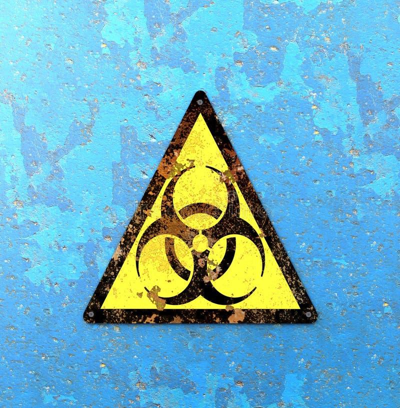 Προειδοποιητικό σημάδι που δείχνει την παρουσία βιολογικών κινδύνων, biohazards Ιοί και βακτηρίδια απεικόνιση αποθεμάτων