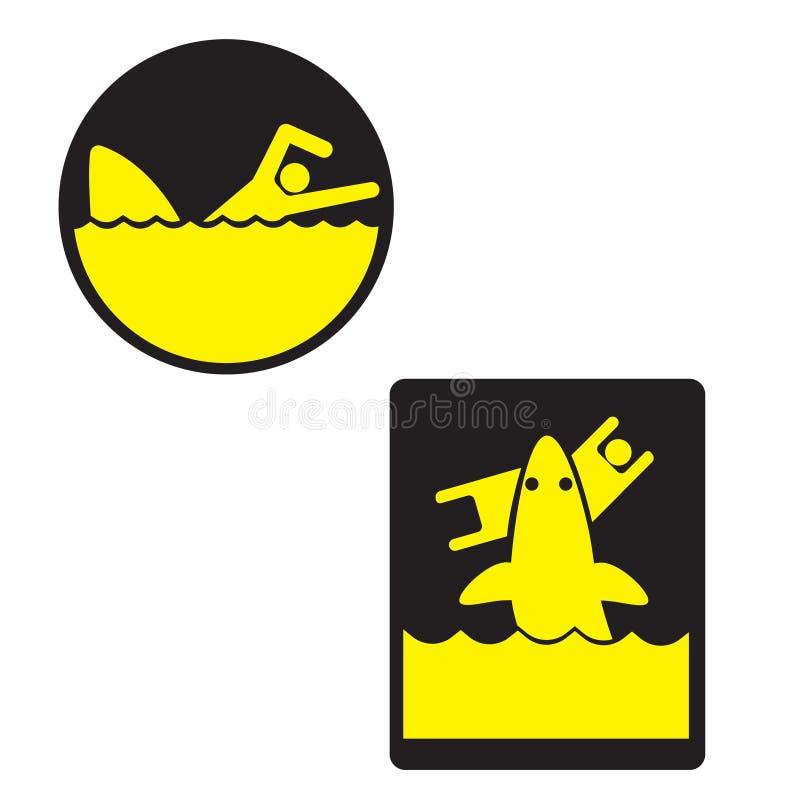 Προειδοποιητικό σημάδι Προσέξτε τους καρχαρίες E διανυσματική απεικόνιση