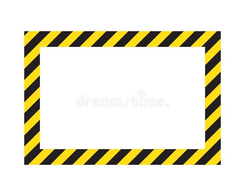 Προειδοποιώντας ριγωτό πλαίσιο, που προειδοποιεί για να είναι προσεκτικός, πιθανός κίνδυνος, κίτρινα & μαύρα λωρίδες στο διαγώνιο απεικόνιση αποθεμάτων