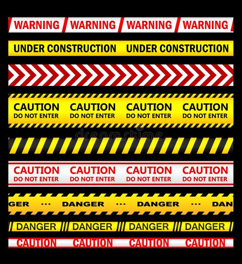 Προειδοποίηση, ασφάλεια και κορδέλλες και ταινίες προσοχής διανυσματική απεικόνιση