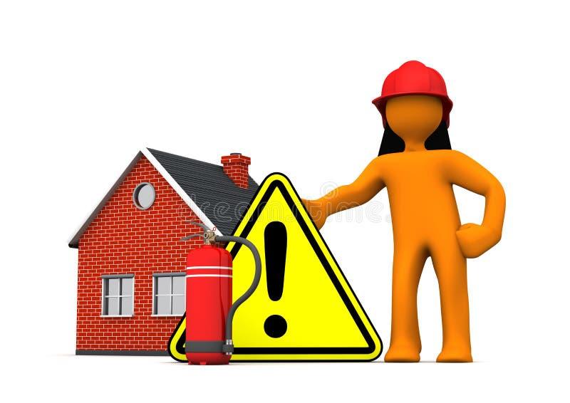 Προειδοποίηση πυροσβεστήρων σπιτιών πυροσβεστών ελεύθερη απεικόνιση δικαιώματος