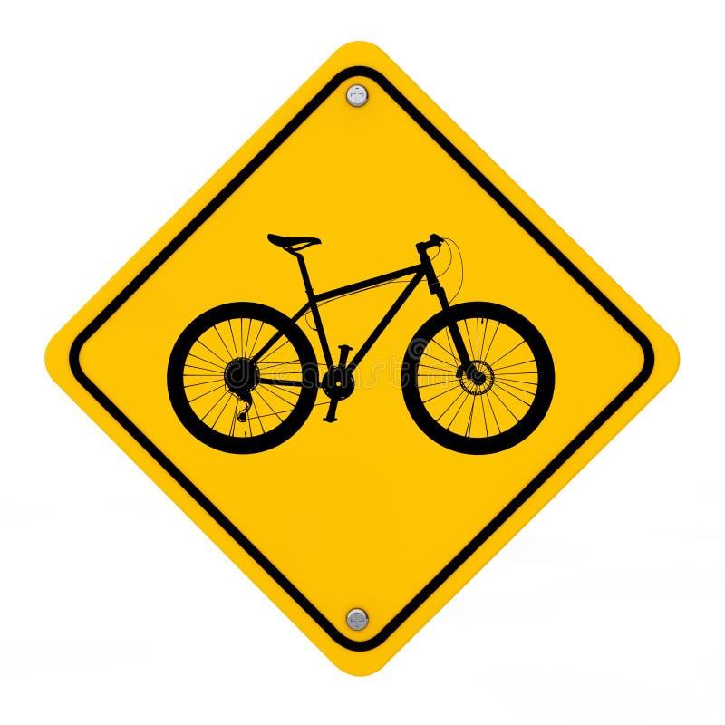 Προειδοποιητικό σημάδι κυκλοφορίας ποδηλάτων τρισδιάστατη απόδοση ελεύθερη απεικόνιση δικαιώματος