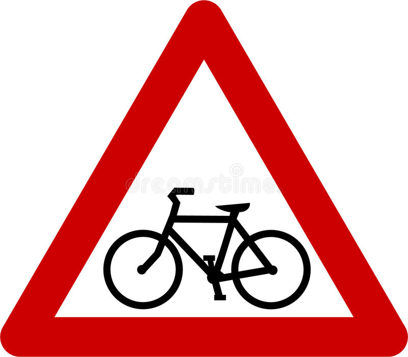 Προειδοποιητικό σημάδι με το ποδήλατο απεικόνιση αποθεμάτων