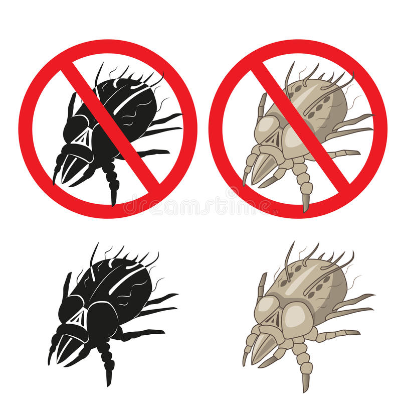 Προειδοποιητικό σημάδι παρασίτων ακαριών σκόνης Κλείστε επάνω ενός ακαριού σπιτιών διανυσματική απεικόνιση