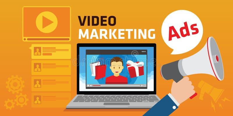 Προερχόμενη από ιό τηλεοπτική διαφήμιση μάρκετινγκ youtube webinar διανυσματική απεικόνιση