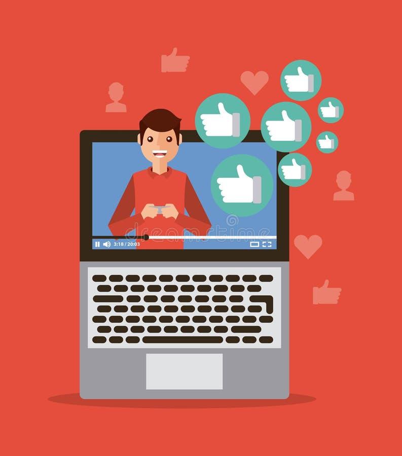 Προερχόμενο από ιό ικανοποιημένο τηλεοπτικό lap-top influencer ψηφιακό διανυσματική απεικόνιση
