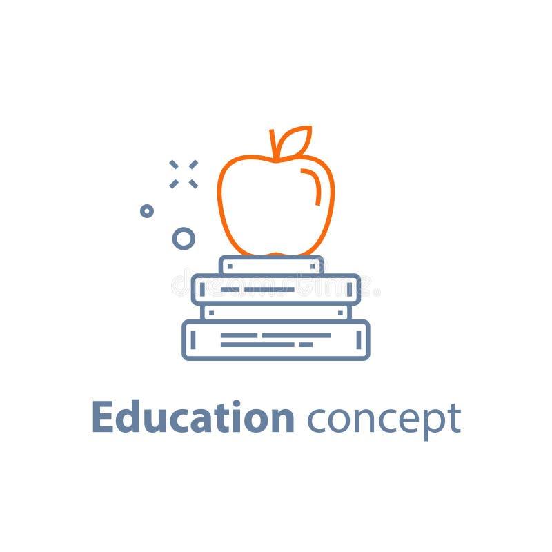 Προετοιμασία διαγωνισμών, έννοια εκπαίδευσης, σωρός των βιβλίων με το μήλο στο τοπ, γραμμικό εικονίδιο ελεύθερη απεικόνιση δικαιώματος