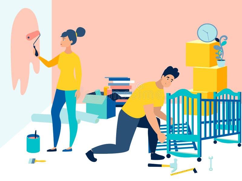 Προετοιμασία ενός δωματίου childs πριν από τη γέννηση ενός παιδιού Το Mom χρωματίζει τους τοίχους, ο μπαμπάς συλλέγει το παχνί Στ ελεύθερη απεικόνιση δικαιώματος