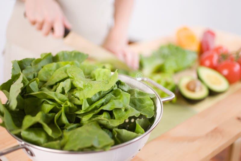προετοιμασία της σαλάτα&s στοκ φωτογραφία με δικαίωμα ελεύθερης χρήσης