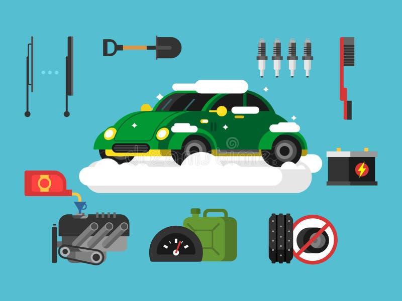 Προετοιμασία του αυτοκινήτου στο χειμώνα διανυσματική απεικόνιση