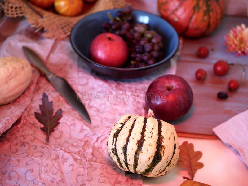 Προετοιμασία του επιδορπίου κολοκύθας, φρούτων και σοκολάτας για ένα εορταστικό εποχιακό dinne στοκ φωτογραφίες