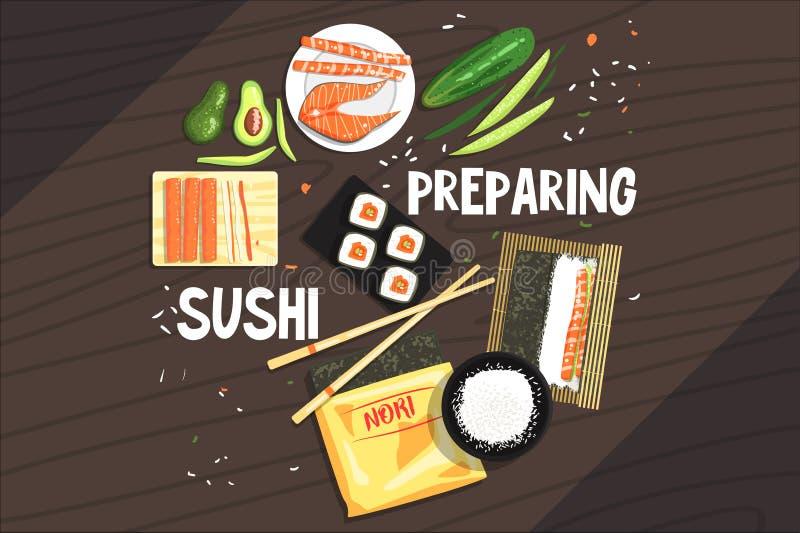 Προετοιμασία των συστατικών και της τεχνικής σουσιών απεικόνιση αποθεμάτων