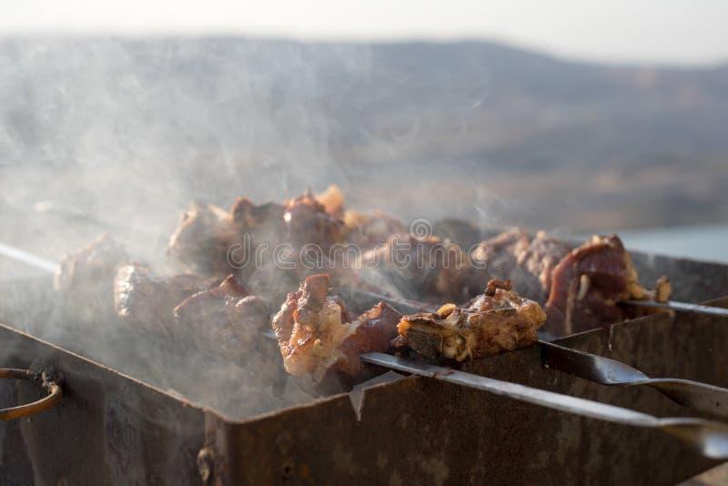 Προετοιμασία bbq shish kebab υπαίθριος κλείστε επάνω στοκ φωτογραφία με δικαίωμα ελεύθερης χρήσης