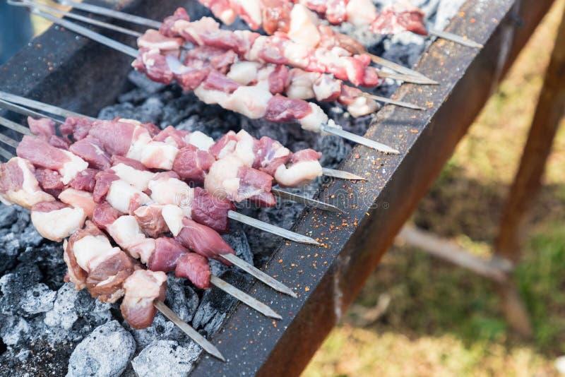 Προετοιμασία shish kebab στοκ φωτογραφίες με δικαίωμα ελεύθερης χρήσης