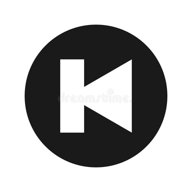 Προηγούμενη διαδρομής διανυσματική απεικόνιση κουμπιών εικονιδίων επίπεδη μαύρη στρογγυλή απεικόνιση αποθεμάτων
