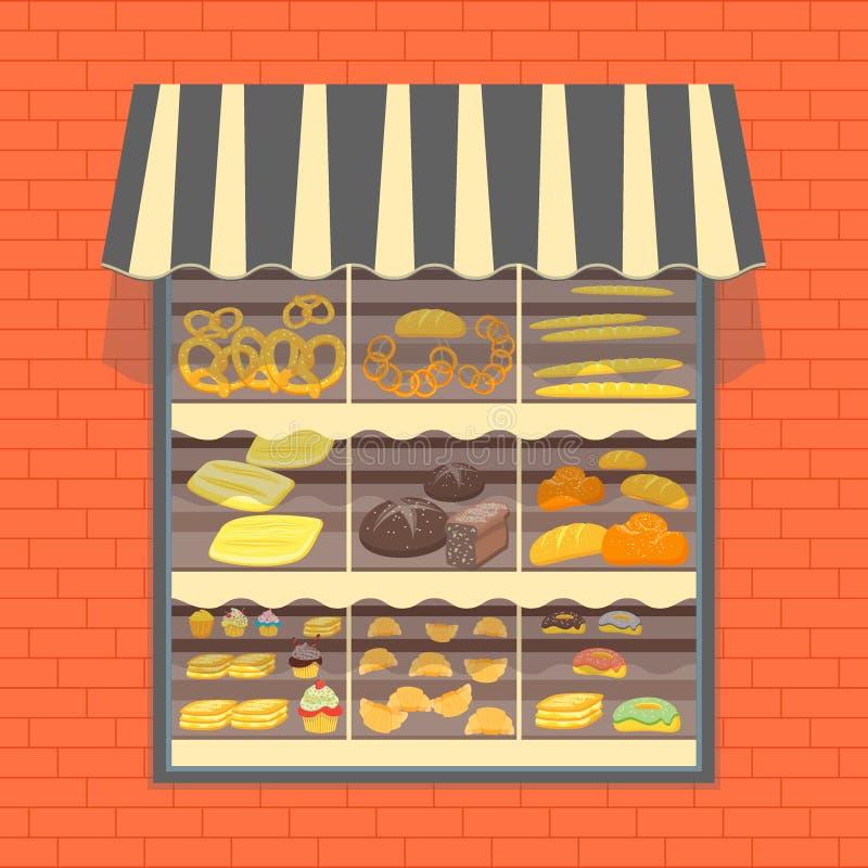 Προθήκη προϊόντων αρτοποιίας και ψωμιού διάνυσμα διανυσματική απεικόνιση