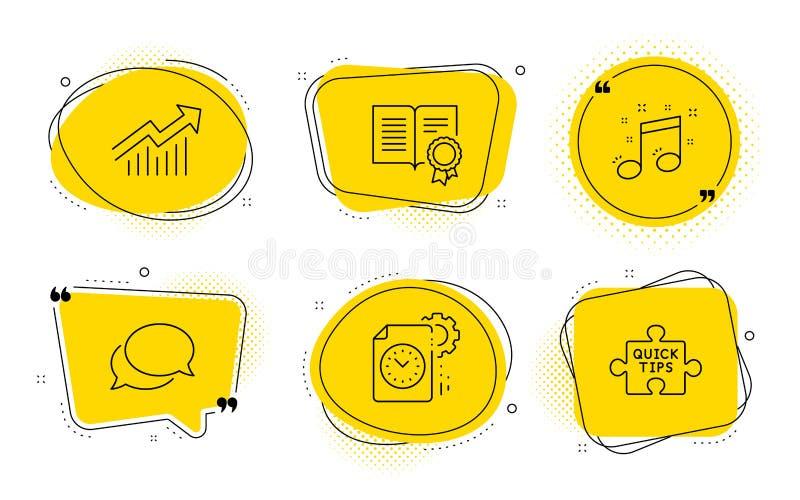 Προθεσμία προγράμματος, δίπλωμα και μουσικά εικονίδια σημειώσεων καθορισμένες Καμπύλη απαίτησης, αγγελιοφόρος και γρήγορα σημάδια ελεύθερη απεικόνιση δικαιώματος