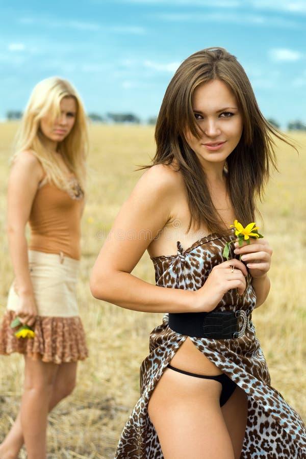 προκλητικές δύο γυναίκε&s στοκ εικόνα με δικαίωμα ελεύθερης χρήσης