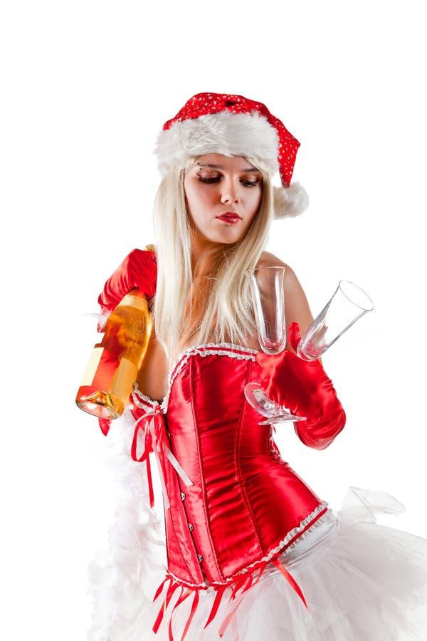 Προκλητική κα Santa με τη σαμπάνια στοκ εικόνα με δικαίωμα ελεύθερης χρήσης